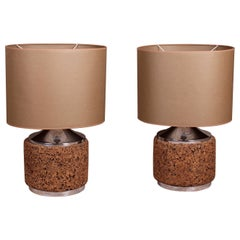 Pair of Large Chrome and Cork Table Lamps