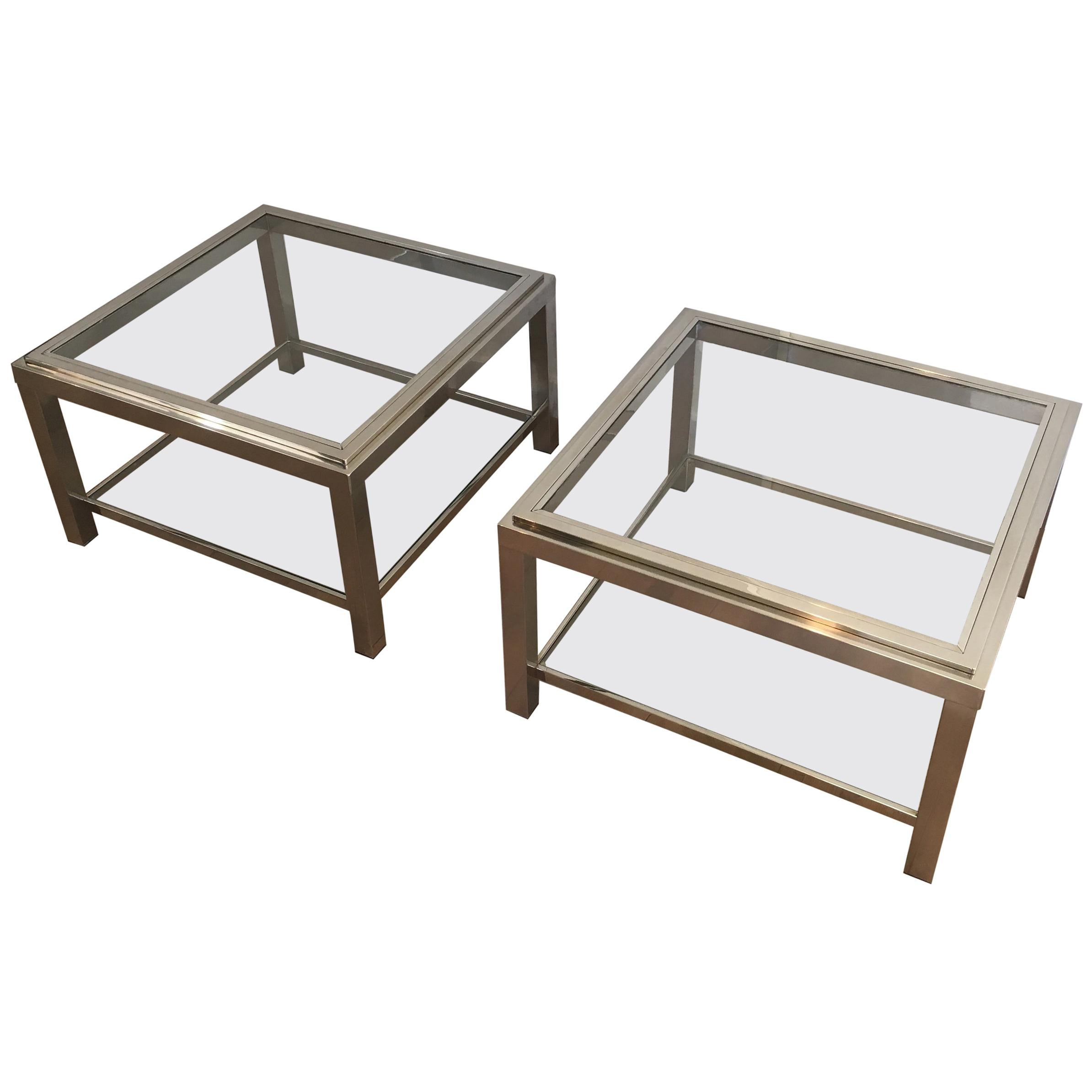 Pair of Large Chrome Side Tables, French, circa 1970
