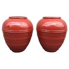 Pair of Large Cinnabar Jars