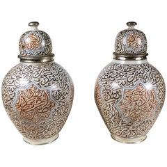 Pair of Large, circa 1900, Lidded Moorish Urns