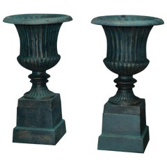 Pair of Large Classical Cast Iron Garden Urns on Plinths, 20th Century