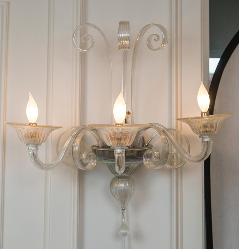 Contemporary Pair of Large Classical Iridescent Three Arm Wall Lights For Sale