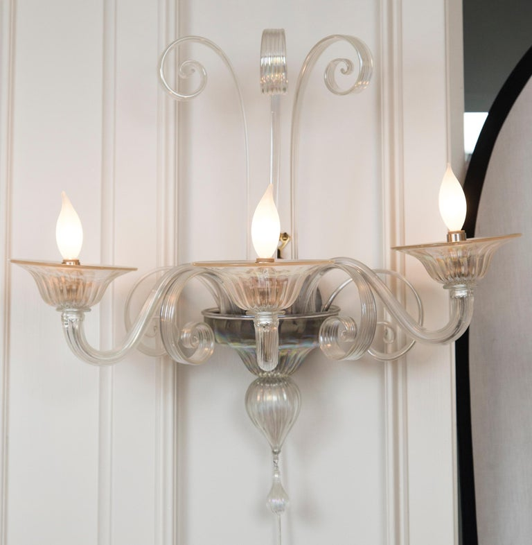 Blown Glass Pair of Large Classical Iridescent Three Arm Wall Lights For Sale