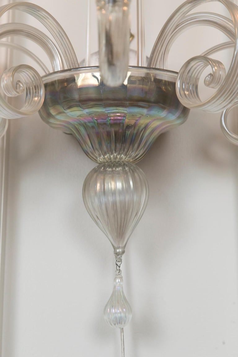 Pair of Large Classical Iridescent Three Arm Wall Lights For Sale 2