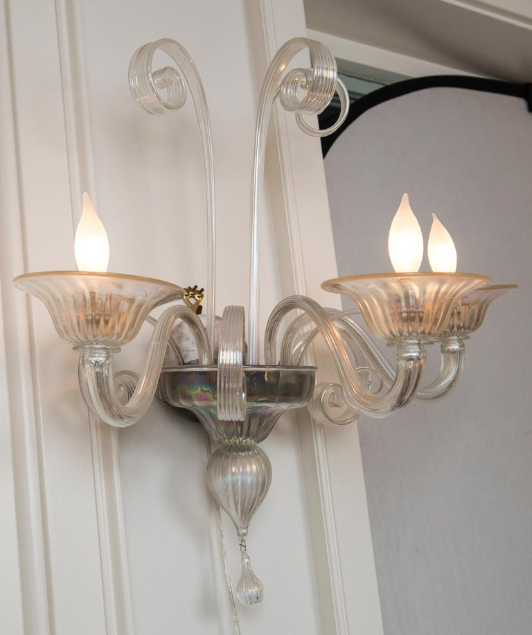 Pair of Large Classical Iridescent Three Arm Wall Lights For Sale 3