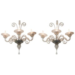 Pair of Large Classical Iridescent Three Arm Wall Lights