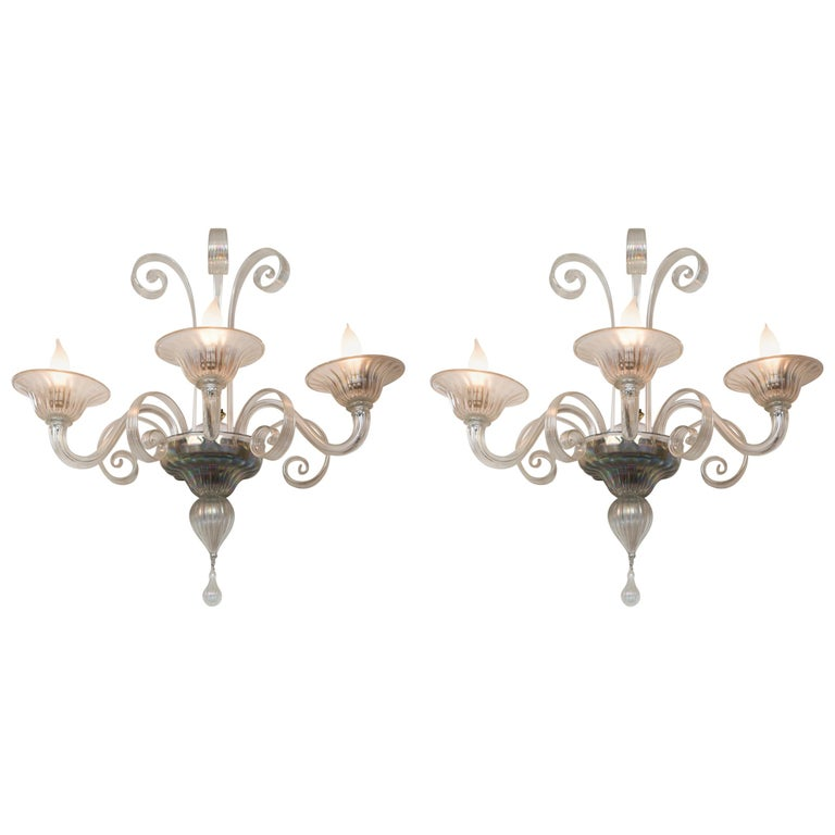 Pair of Large Classical Iridescent Three Arm Wall Lights For Sale