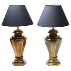 Pair of Large, Classical Style Table Lamps, Polished Brass, 1970s