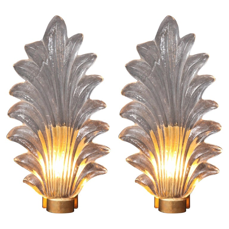 Pair of Large Clear Murano Glass Leaf and Brass Sconces, Italy For Sale