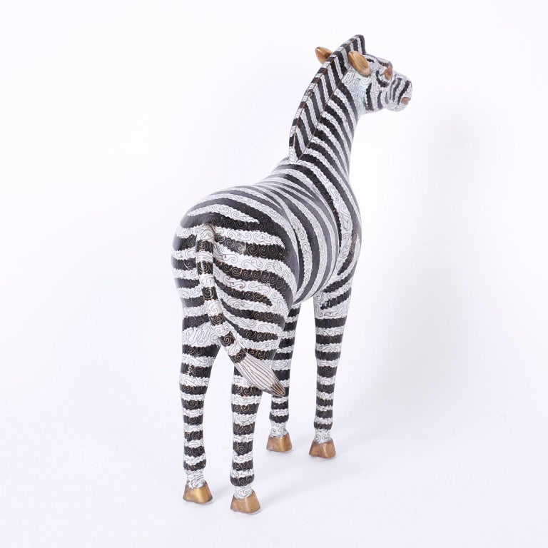 Pair of Large Cloisonné and Brass Zebras In Excellent Condition For Sale In Palm Beach, FL