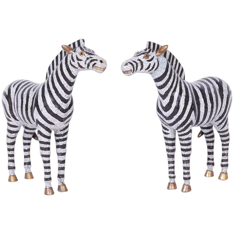 Pair of Large Cloisonné and Brass Zebras For Sale