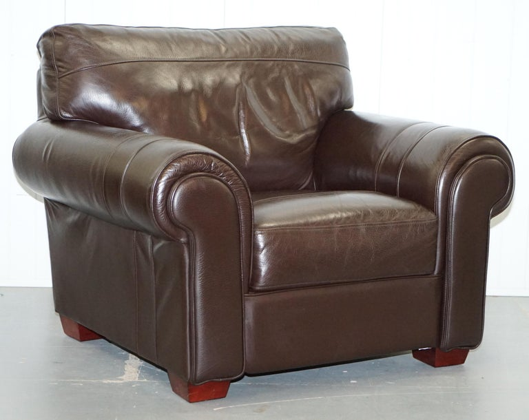 Pair of Large Comfortable Brown Leather Armchairs with ...