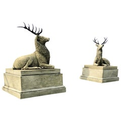 Pair of Large Composite Stone Recumbent Stags on Plinths, 21st Century