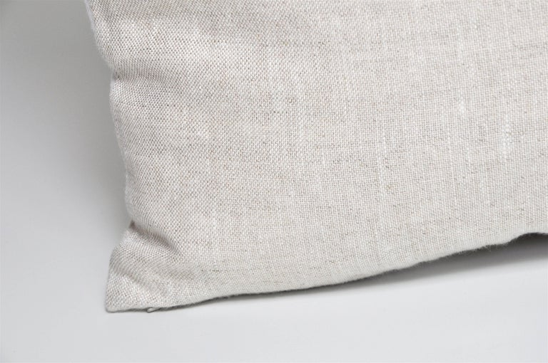 Northern Irish Pair of Large Contemporary Irish Linen Pillows Cushions White Natural Patchwork For Sale