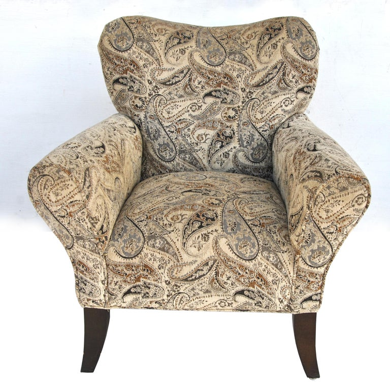 American Pair of Large Contemporary Wing Back Chairs For Sale