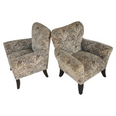 Pair of Large Contemporary Wing Back Chairs