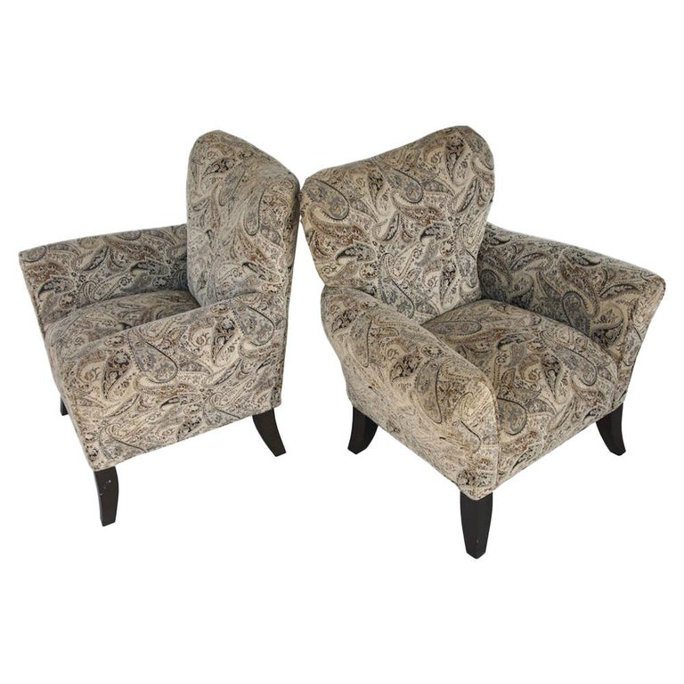 Pair of Large Contemporary Wing Back Chairs For Sale
