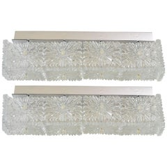 Pair of Large Crystal Glass Wall Sconces Lamps by Kinkeldey