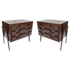 Pair of Large Custom 1960s Italian Style Walnut Nightstands by Adesso Imports