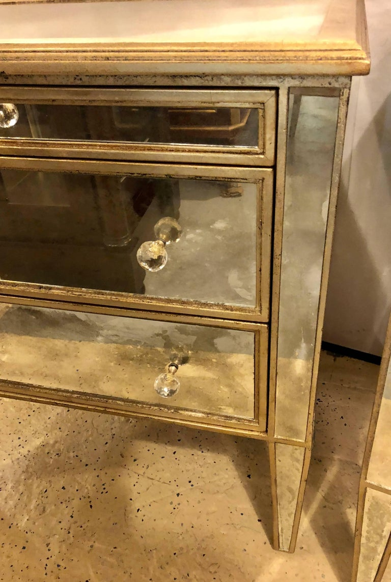 Hollywood Regency Pair of Large Custom Three-Drawer Antique Mirrored Nightstands or Commodes For Sale