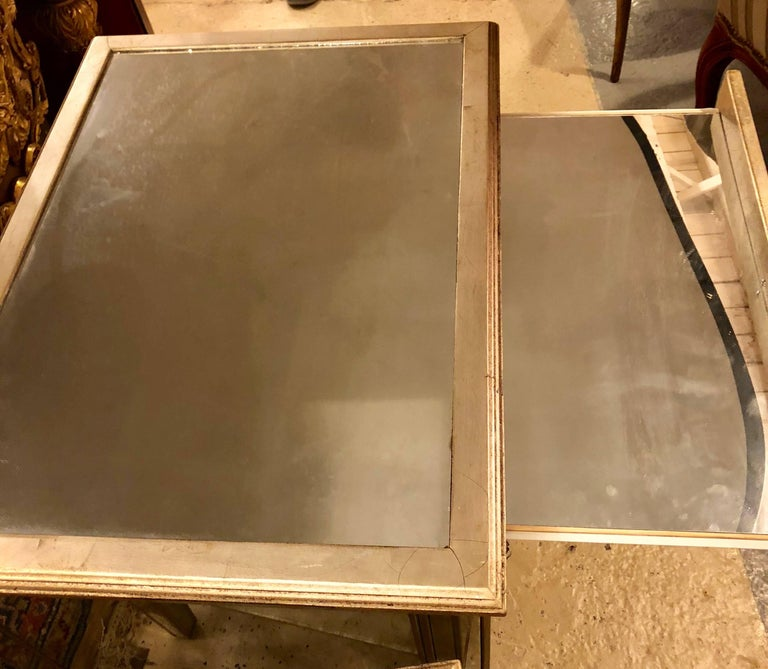 Pair of Large Custom Three-Drawer Antique Mirrored Nightstands or Commodes In Good Condition For Sale In Stamford, CT