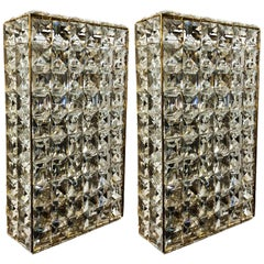 Pair of Large Cut Crystal Lamp Wall or Flush Mount