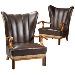 Pair of Large Danish 1940s Wingback Chairs with Leather Upholstery