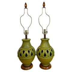Pair of Large Danish Modern Green Monochrome Pottery Reticulated Lamps