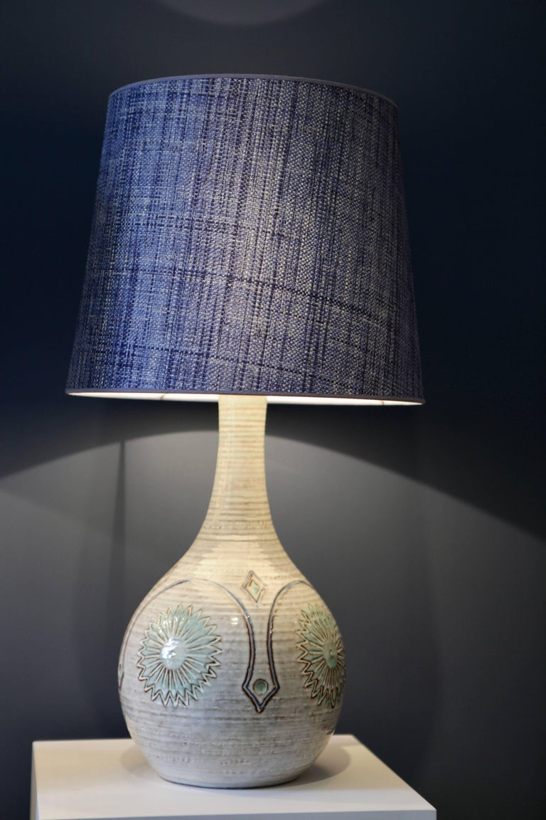 Scandinavian Modern Pair of Large Danish Stoneware Table Lamps with Denim Blue Raffia Shades, 1960 For Sale