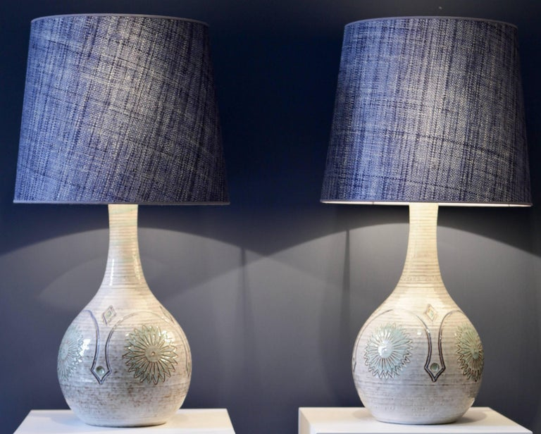Pair of Large Danish Stoneware Table Lamps with Denim Blue Raffia Shades, 1960 For Sale 1