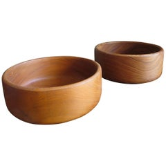 Pair of Large Danish Vintage Hand Moulded and Organic Shaped Teak Bowls, 1950s