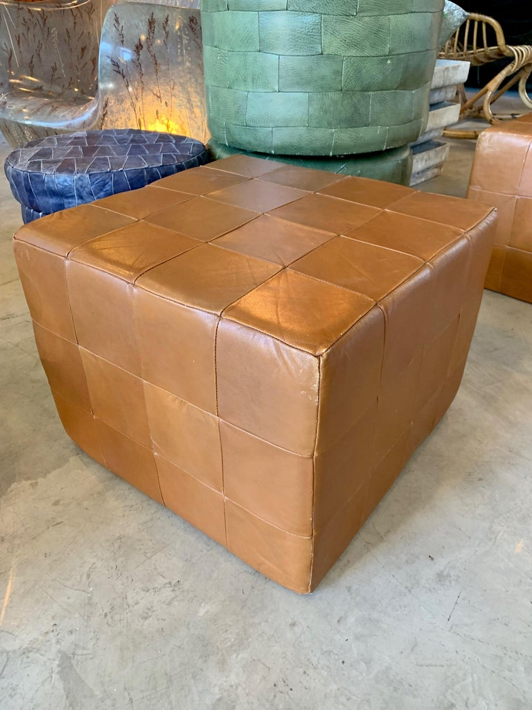 Swiss Pair of Large De Sede Patchwork Leather Ottomans For Sale