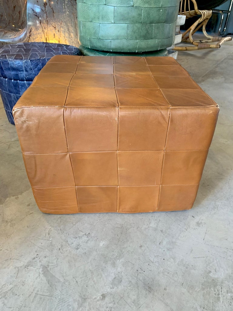 Pair of Large De Sede Patchwork Leather Ottomans In Good Condition For Sale In Los Angeles, CA