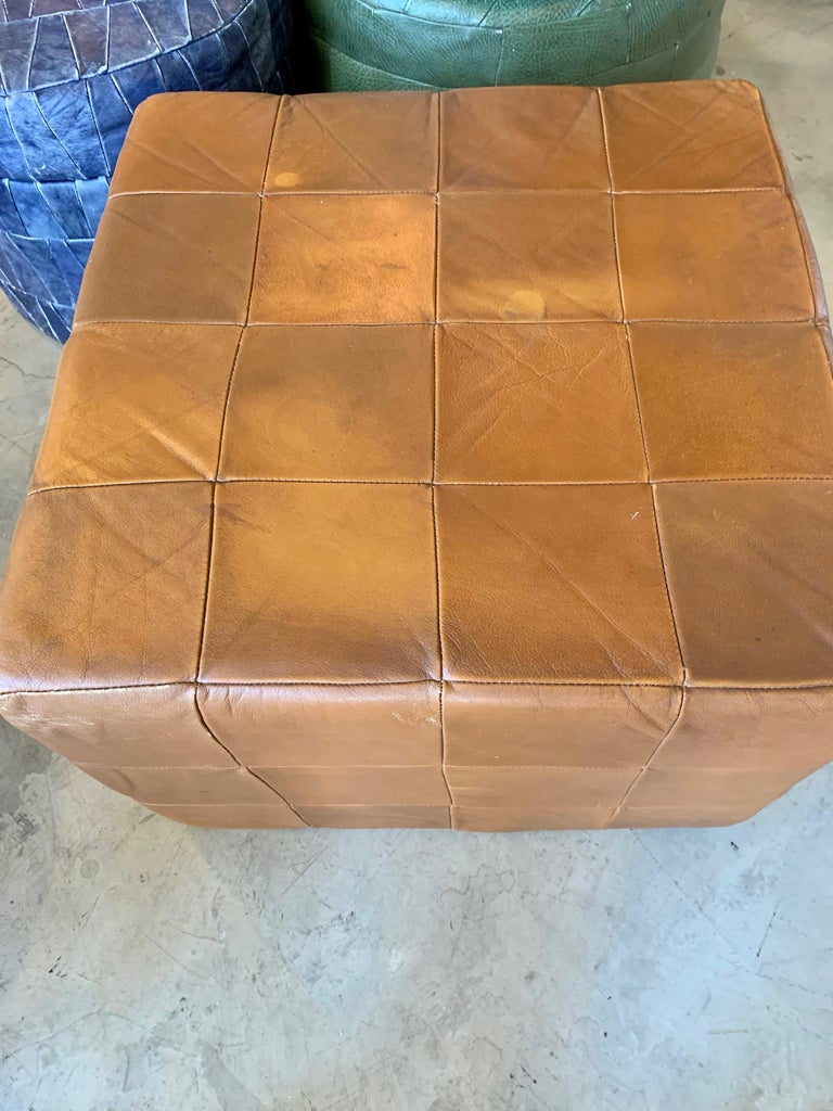 Late 20th Century Pair of Large De Sede Patchwork Leather Ottomans For Sale