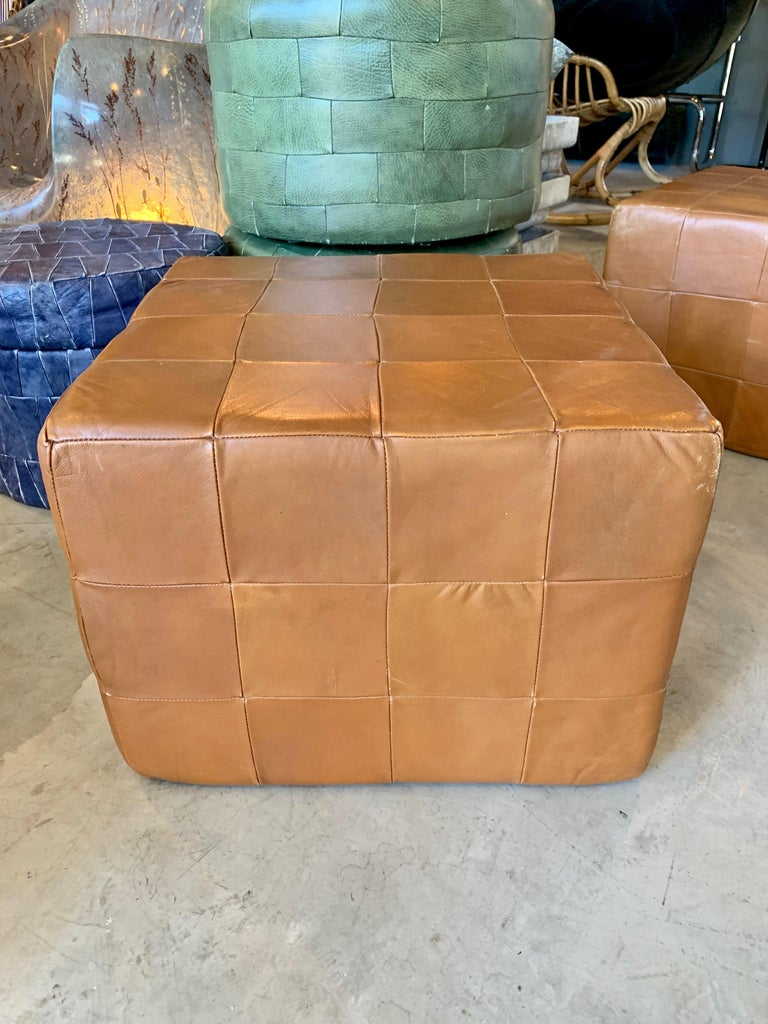 Pair of Large De Sede Patchwork Leather Ottomans For Sale 2
