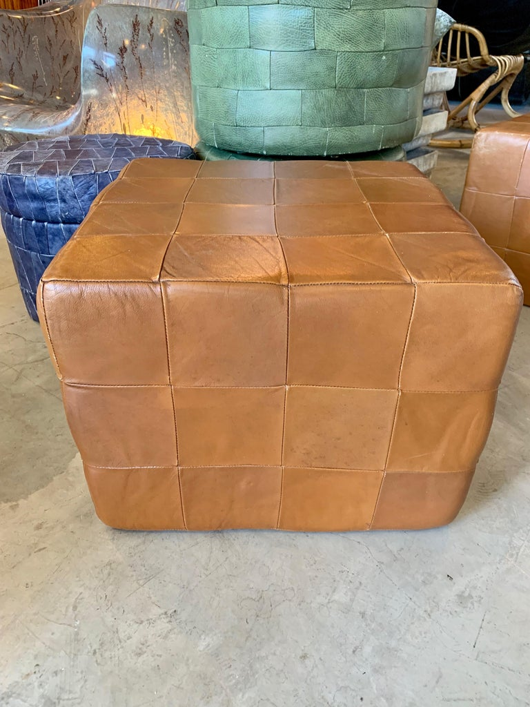 Pair of Large De Sede Patchwork Leather Ottomans For Sale 3