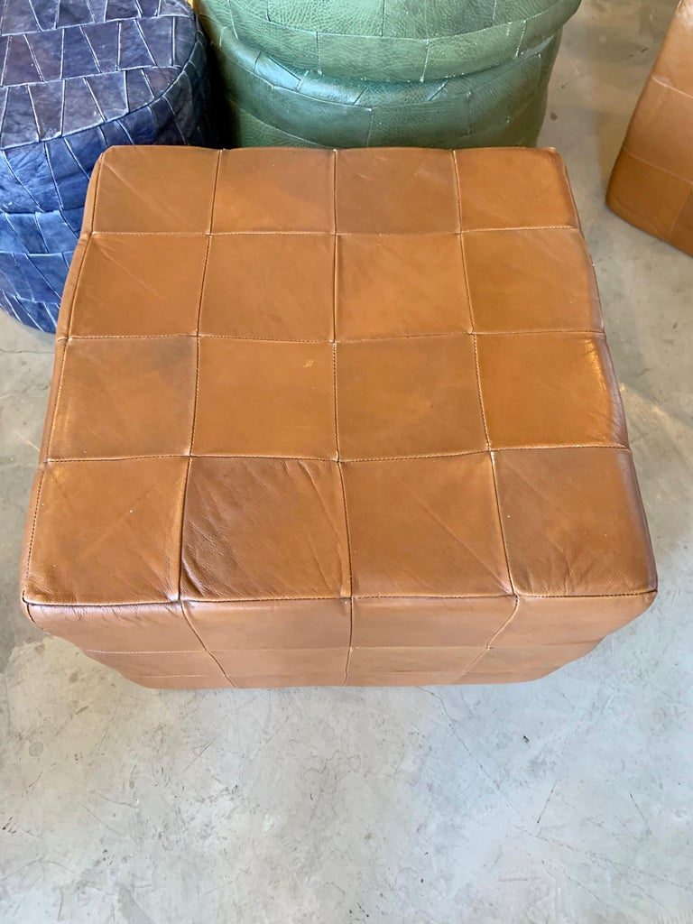 Pair of Large De Sede Patchwork Leather Ottomans For Sale 4