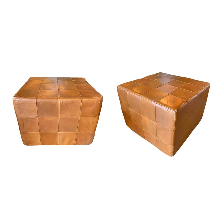 Pair of Large De Sede Patchwork Leather Ottomans For Sale