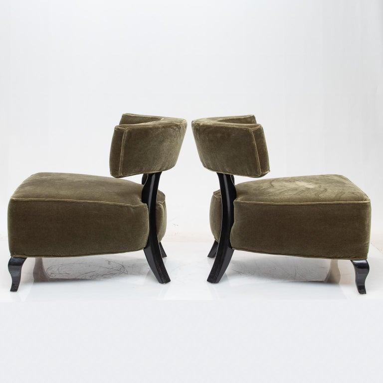 American Pair of Large Deco Chairs For Sale
