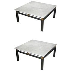 Pair of Large Deco White Marble-Top Tables