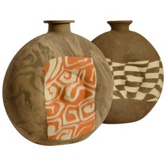 Pair of Large Decorative Studio Pottery Vases in Geometric Patterns