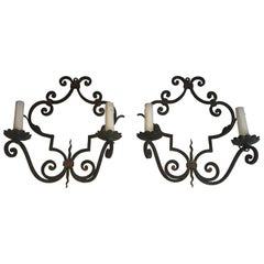 Pair of Large Decorative Wrought Iron Wall Sconces, French, circa 1950