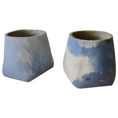 Pair of Large Detroit Studio Modernist Blue Cement Planter Pots or Garden Stools