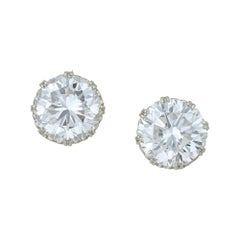 Pair of Large Diamond Stud Earrings
