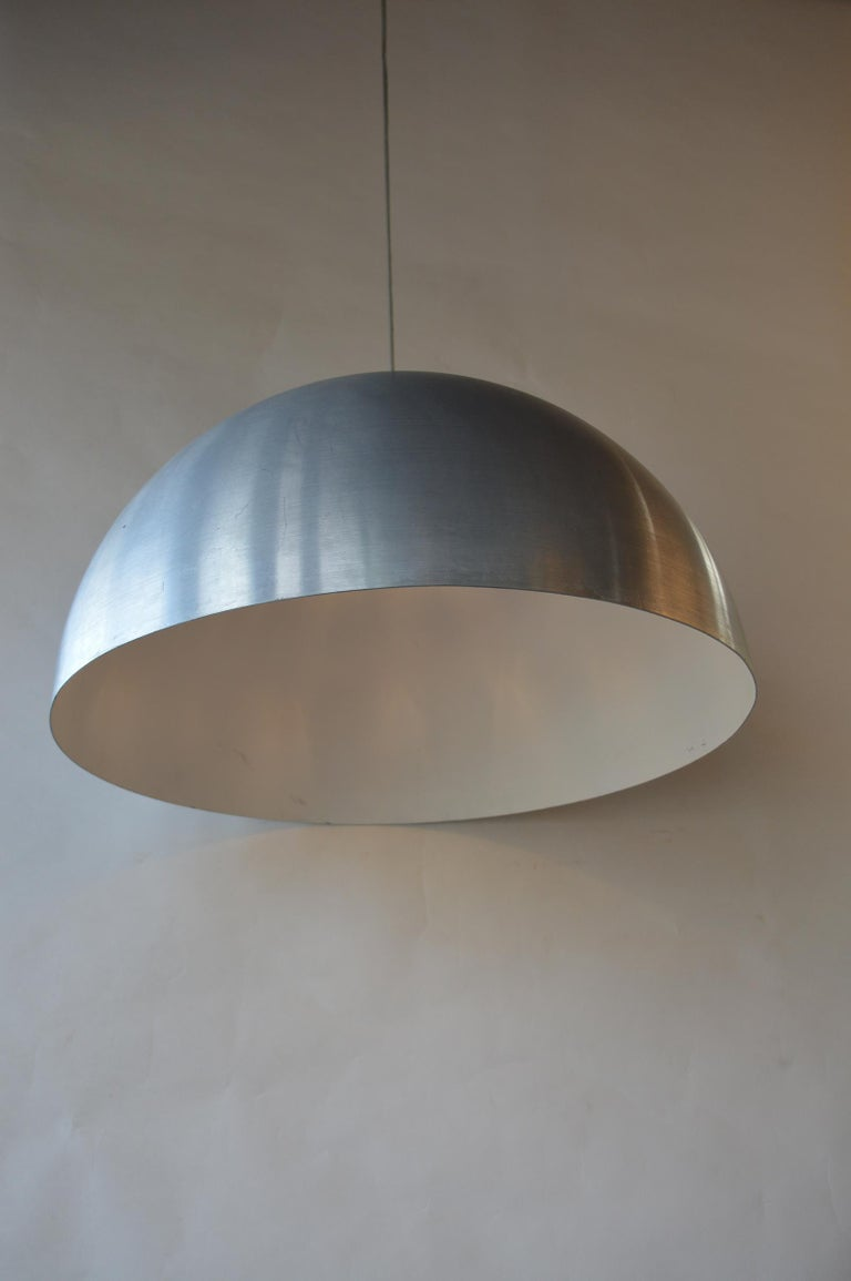 Italian Pair of Large Dome Pendant Lights For Sale