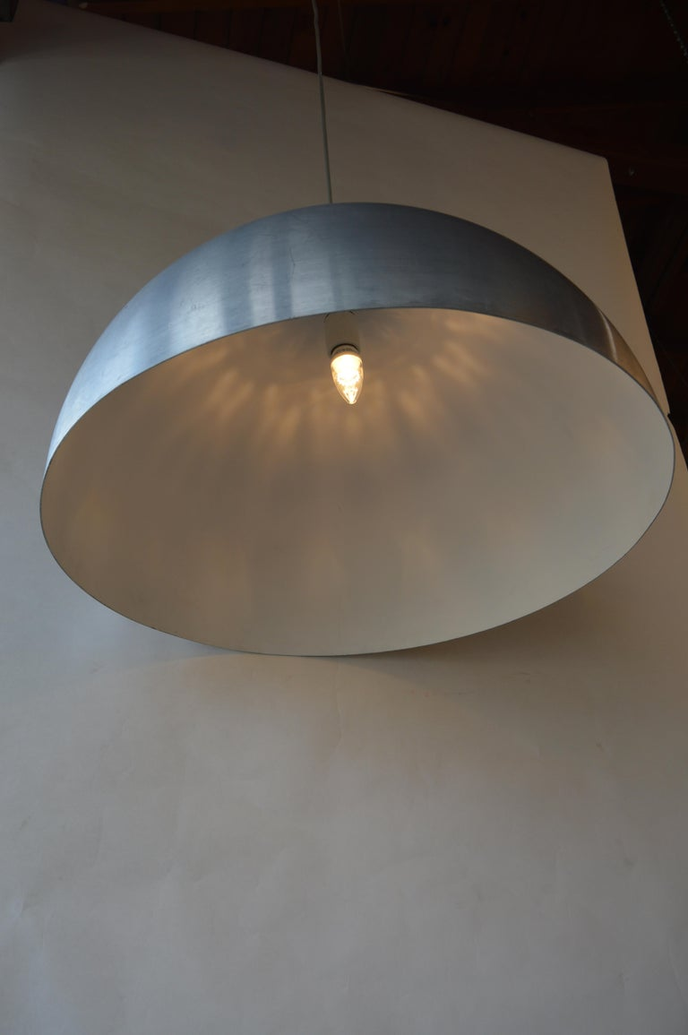 Pair of Large Dome Pendant Lights In Excellent Condition For Sale In Los Angeles, CA