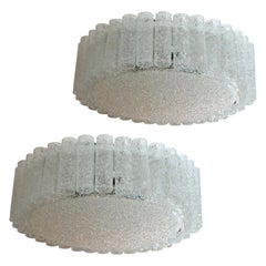 Pair of Large Doria Clear Flush Mount Chandeliers, 1960