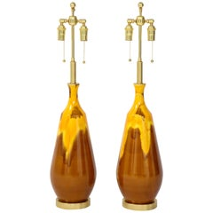 Pair of Large Drip Glazed Ceramic Lamps