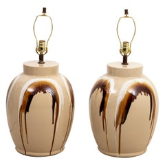 Pair of Large Drip Glazed Table Lamps