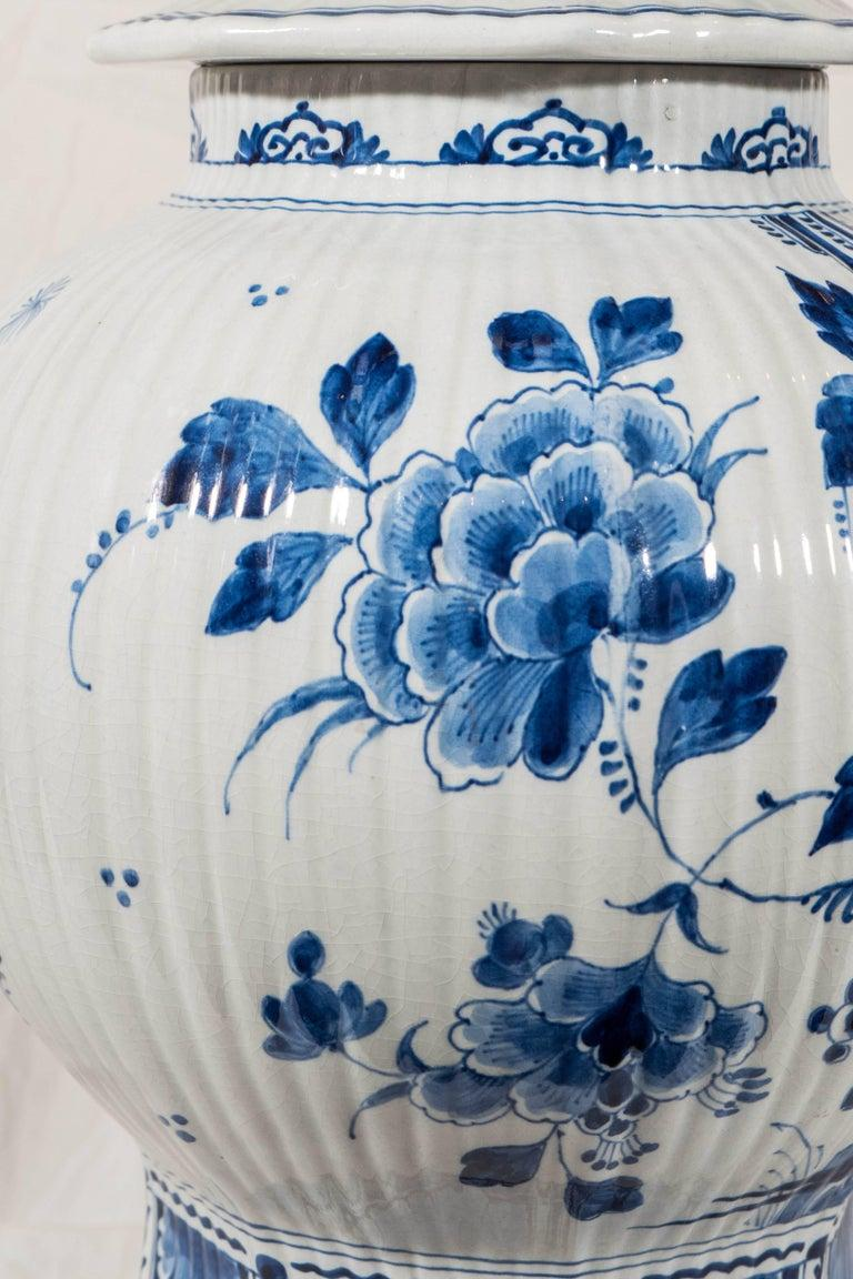 Rococo Pair of Large Dutch Delft Blue and White Jars For Sale